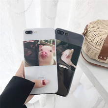 Cartoon transparent cute pig phone case For iphone XS MAX XR X 6 6S 7 8plus fashion TPU silicone soft shell cover