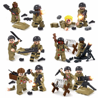 12PCS World War 2 Biochemical War Military US Soldier VS Zombie With Weapons Compatible Legoe Model