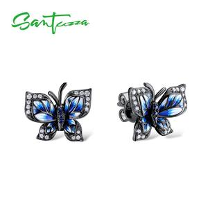 Image 2 - SANTUZZA Silver Earrings For Women Genuine 925 Sterling Silver Blue Butterfly Earrings Glamorous Fashion Jewelry Handmade enamel