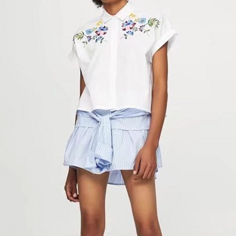 fe57715f VOGUEIN New Womens Floral Leaf Embroidered Short Sleeve Button Down Shirt  Blouse Tops Size SML Wholesale-in Blouses & Shirts from Women's Clothing ...