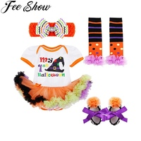 4PCS Infant Baby Girls Halloween Outfits Romper With Headband Leg Warmer Shoes SZ 0 9 Months