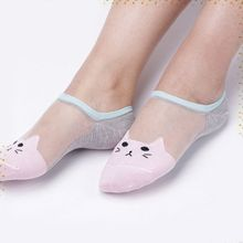 Women Girls Soft Cat Pattern Crystal Silk Socks Ultrathin Transparent Low Cut Socks