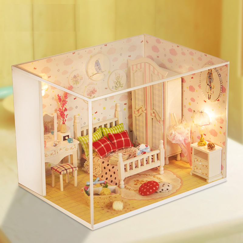 Elegant DIY Handmade Dollhouse Miniature With Furnitures LED Creative Doll House Wooden Model Gift Sweet And Beauty DreamQ007 #D