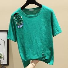 shintimes Hole T Shirt Women Beading Tshirt Woman Cotton 2019 Tops Summer Short Sleeve Womens Tee Shirts Femme T-Shirt Female