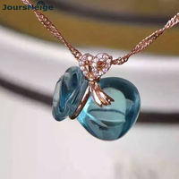 Wholesale Blue Money Bag Natural Crystal Pendant Meaning Blessing bag 925K gold craft Lucky Men Women Crystal Pendant Jewelry