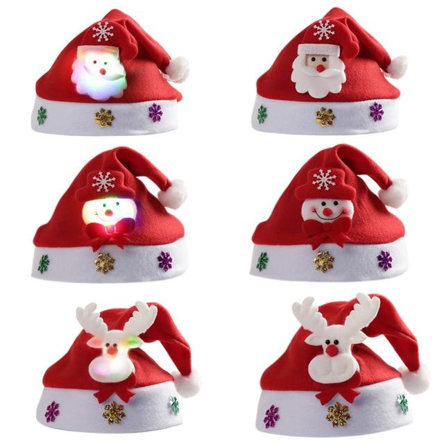 06ff38630f1b1 Cute Christmas Hat Kids Adult Children with Lights Cartoon Snowman Santa  Hat Xmas Cap Electronic lamp