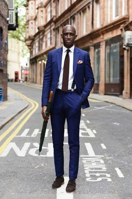 Fantastic Blue Men Suits 2018 Tough Guy Groomsmen Best Man Weding Tuxedos Men Suits(Jacket+Pants)