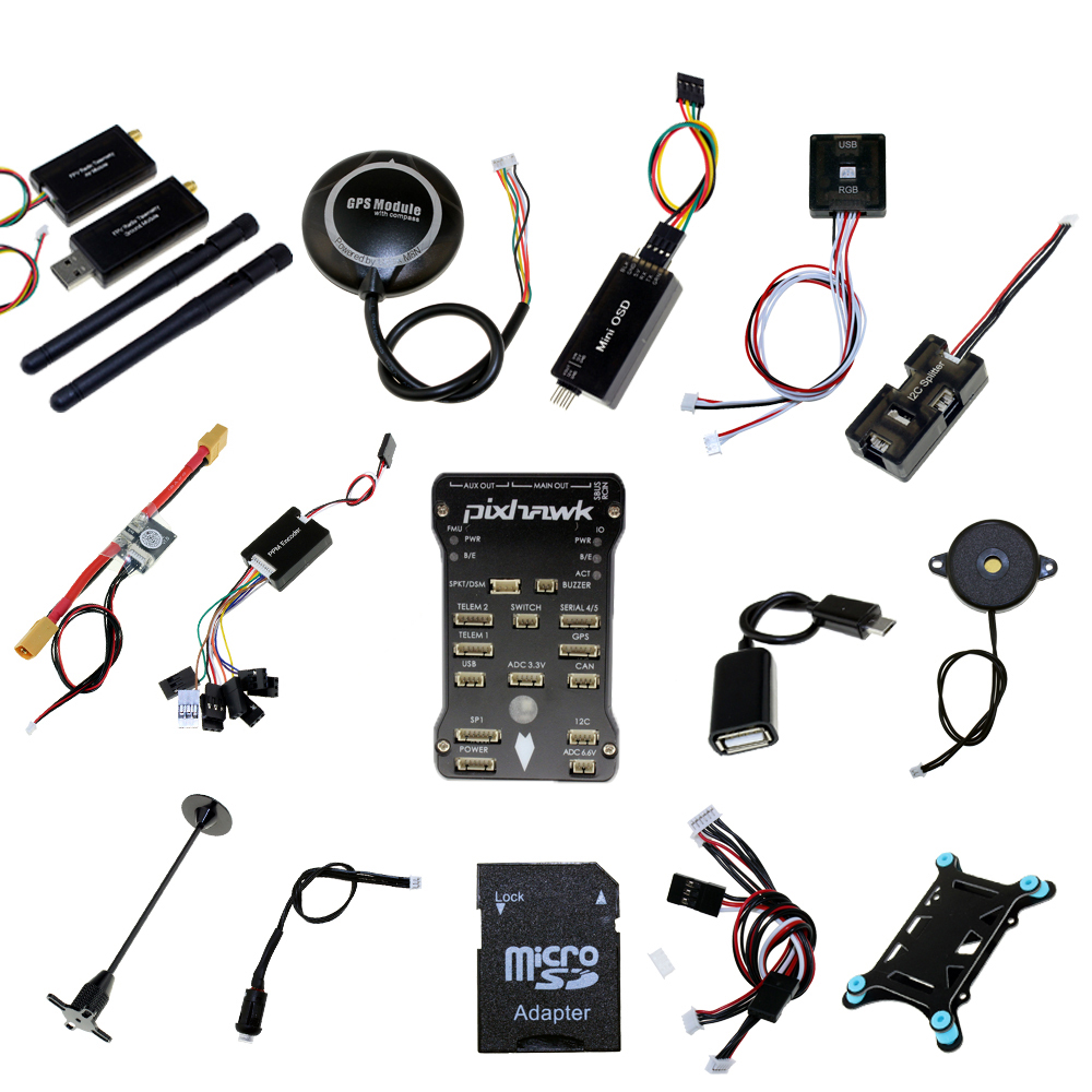 Pixhawk PX4 PIX 2.4.8 flight controller + NEO-M8N GPS + OSD+Power module+3DR Radio Telemetry 433Mhz 915Mhz RC FPV SYSTEM image
