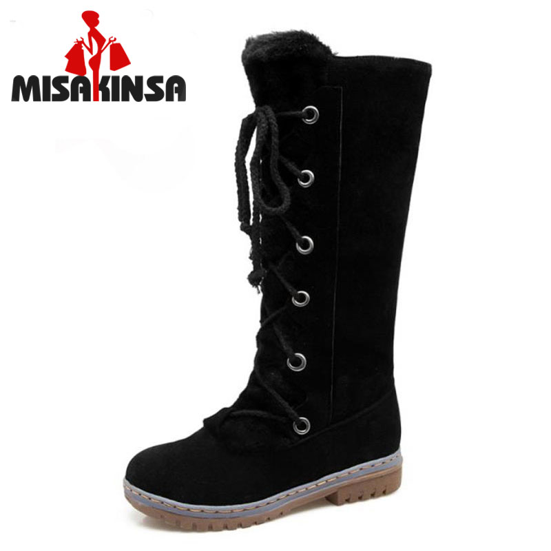 MISAKINSA Size 34-43 Women Thick Fur Flats Boots For Cold Winter Botas Mid Calf Boots Warm Shoes Snow Long Botas Woman Footwears купить