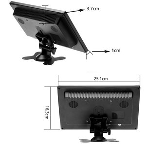 "Image 5 - Podofo 10.1 ""lcd hd monitor mini tv & display de computador tela colorida 2 canais entrada vídeo monitor de segurança com alto falante vga hdmi"