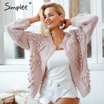 Hairball knitted cardigan Casual o neck long sleeve pink cardigan