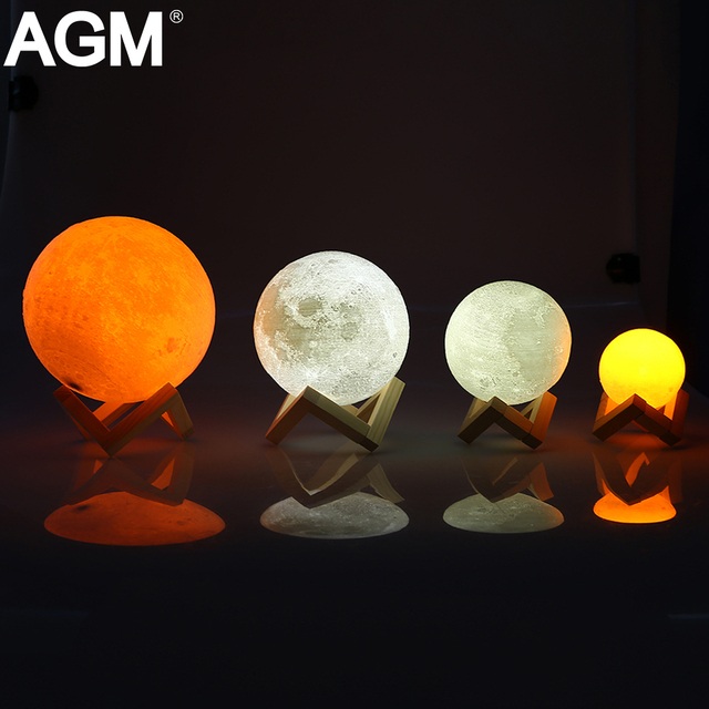 Rechargeable Led Night Light Moon Lamp Print Moonlight Luna Touch 2 Colors Change Switch