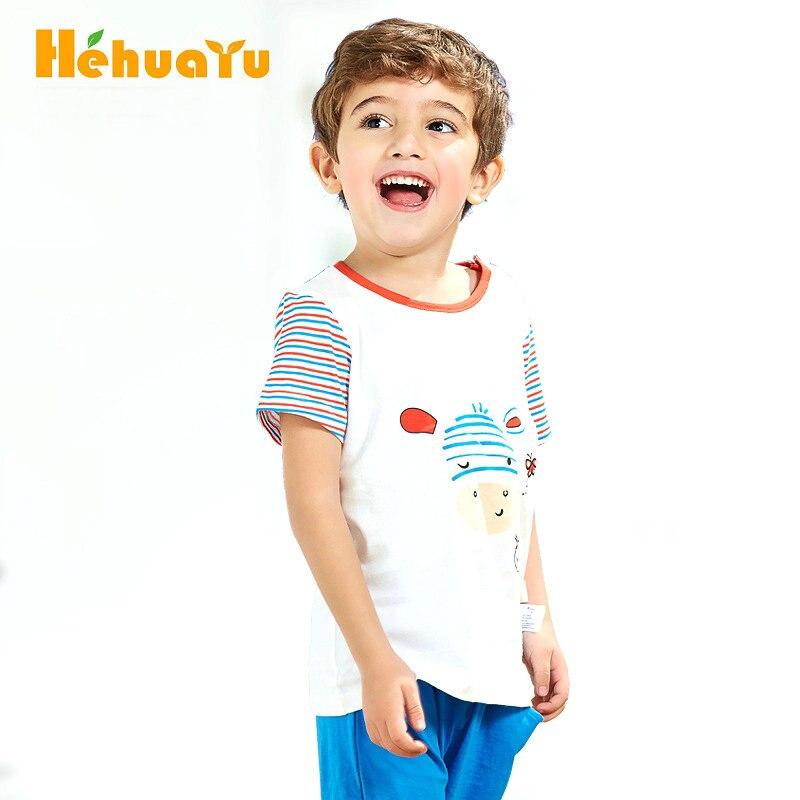 Hehuayu Children Clothing Sets Boys T-shirts Short Sleeve Cartoon Baby Girls Shorts+Shirts Suits Cotton Kids Tops Sets SAS-9543