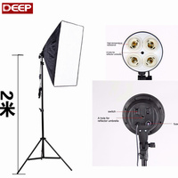 Ship RU Photography Lighting 4 E27 Socket Holder Bulb 4 In 1 50x70CM Softbox 2m Light