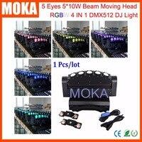 מחיר מפעל 5 עיניים הזזת ראש קרן 5*10 W RGBW LED 4IN1 גדולות תצוגת אופנה דיסקו שלב אור חיצוני מקורה אירוע