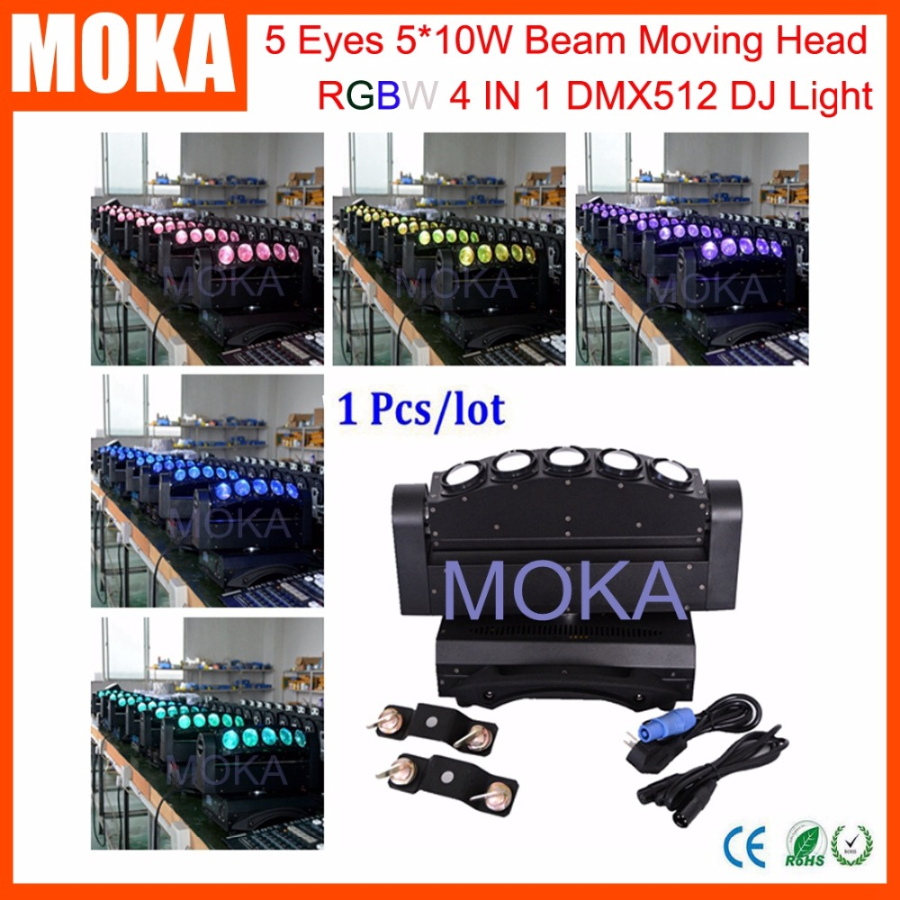 Factory Price 5 Eyes Moving Head Beam 5*10W LED RGBW 4IN1 Stage Disco Light for Indoor Outdoor Fashion Show Big Event