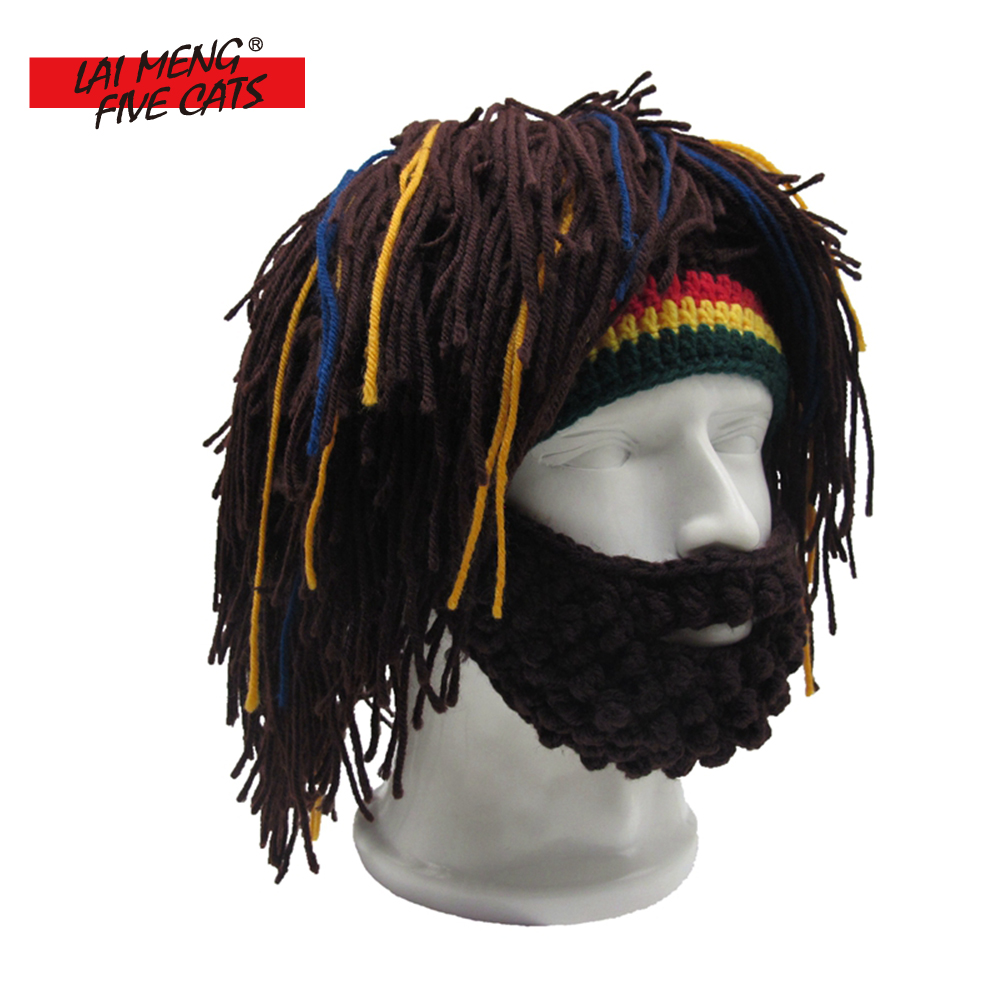 LMFC Wig Beard Hat Rasta Beanie Caveman Bandana Handmade Crocheted Gorro Winter Mens Christmas Costume Funny Birthday Gifts