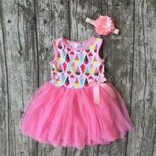 Nouveau bébé d'été de filles enfants boutique vêtements rose glace-crème robe de bal en dentelle sans manches arc coton robe accessoires assortis