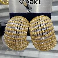 GODKI Trendy Chic Fat Wide Statement Stud Earrings For Women Wedding Cubic Zircon Tricolor Earrings Jewelry Accessories 2018