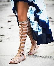 купить Rome Style Cross Strap Flat Sandals Boots Peep Toe Cut-out Strappy Sandals Shoes Lace-up Gladiator Sandals Women Beach Shoes в интернет-магазине
