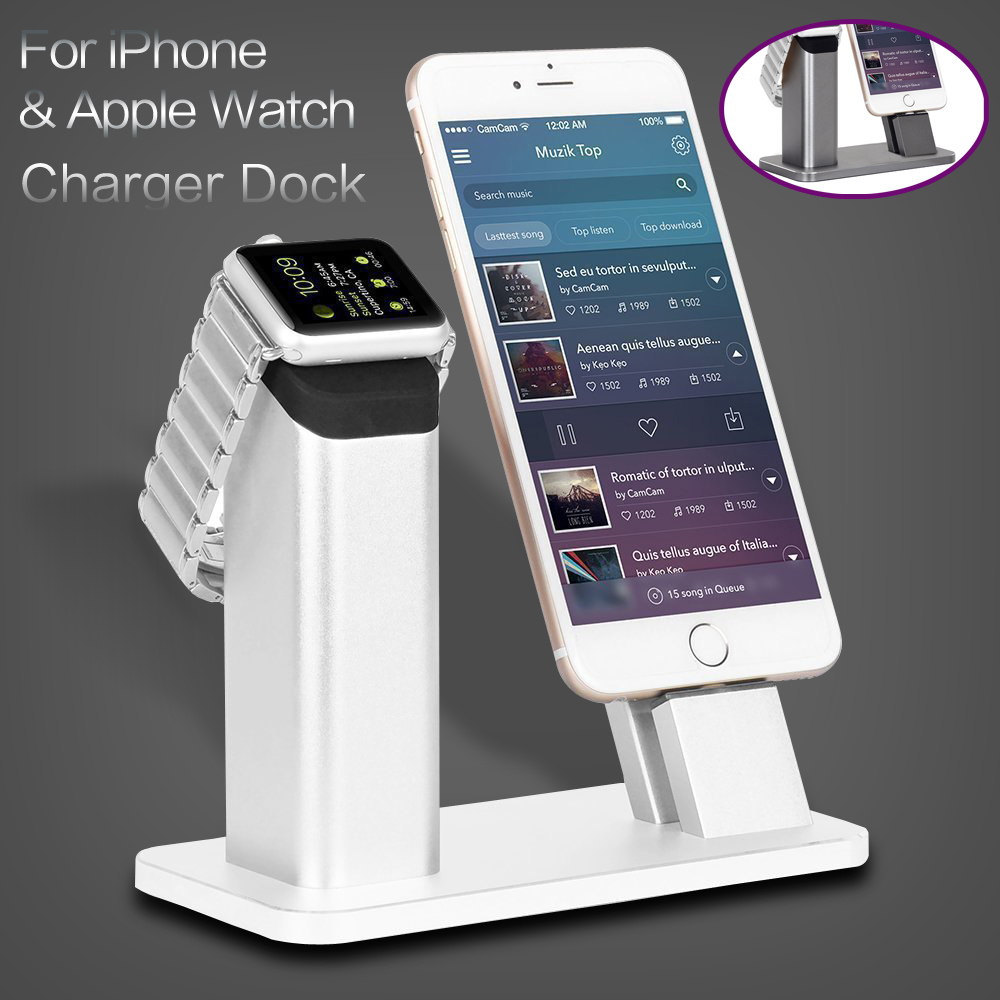Metal 2 in 1 For Apple Watch 38 42 Aluminum Charging Docking Station Charger Night Stand