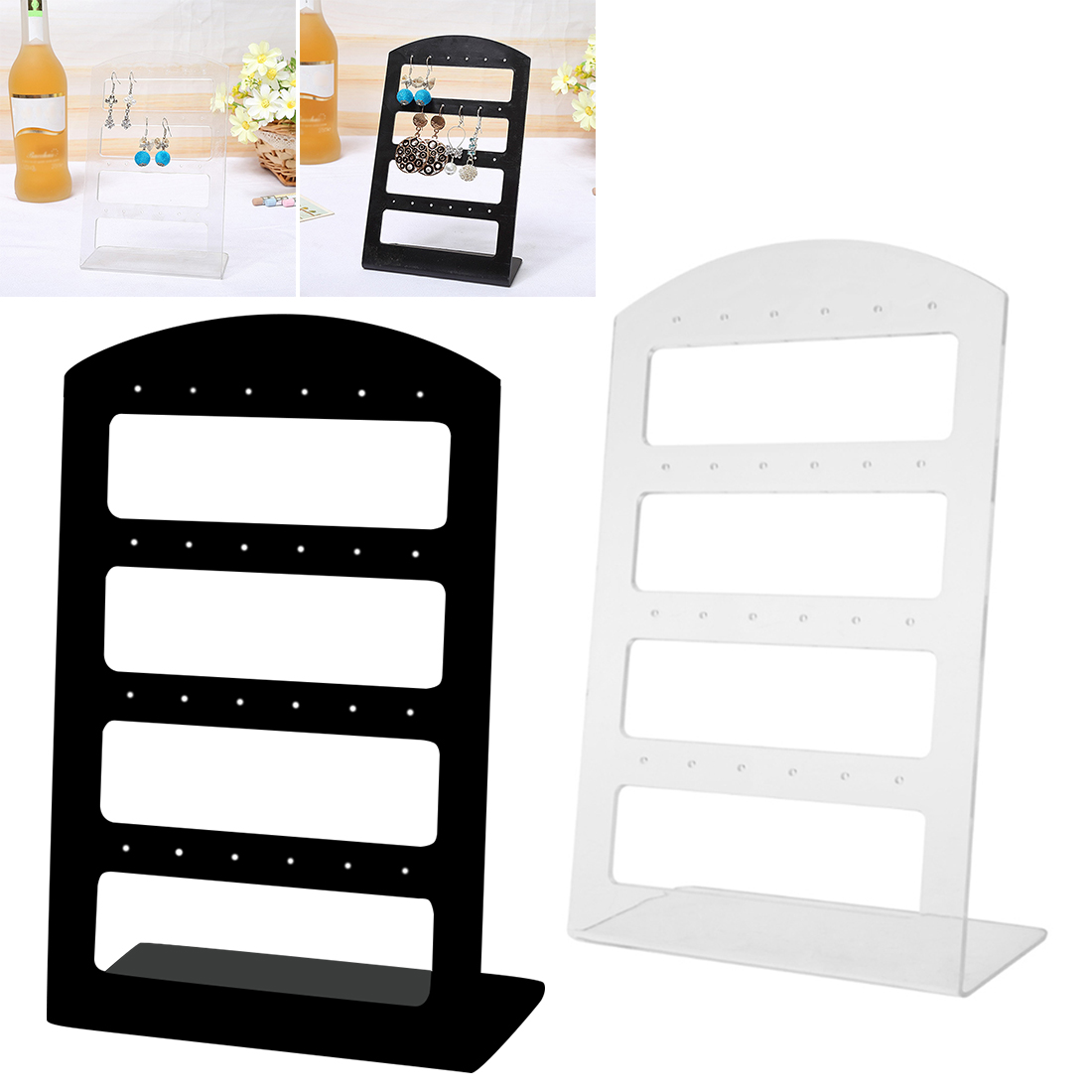 24 Holes Stud/Dangle Earrings Display Holder Showing Stand Rack Jewelry Packaging Plastic Show Organizer Storage Transparent