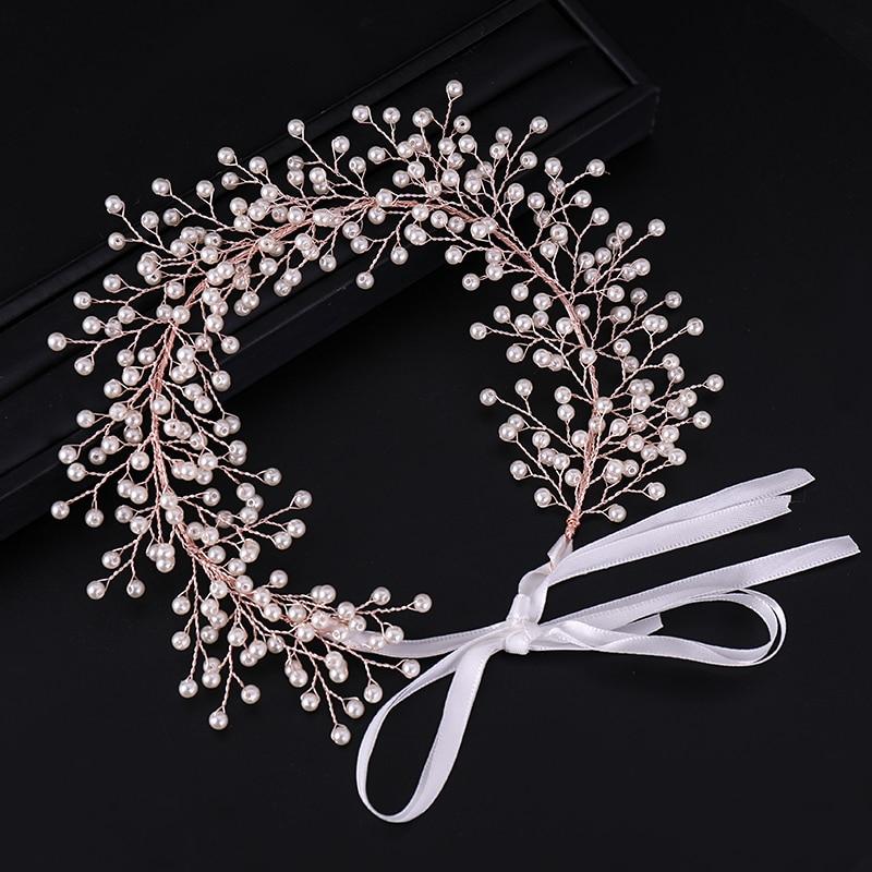 New Rose Gold Color Bridal Hair Accessories Pearl Handmade Wedding Headbands Ribbon Tiaras Hairbands Women Hair Jewelry Hot Sale