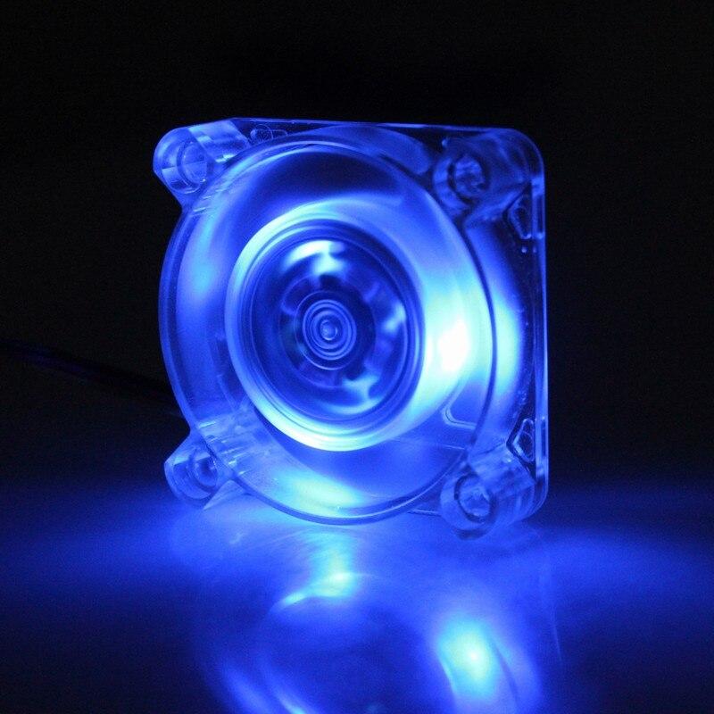 Gdstime DC 12V 3 PIN 40mm 40x40x10mm LED Transparent Crystal Blue Computer Case Brushless Cooling Fan bravo audio booster guitar effector blue transparent dc 12v