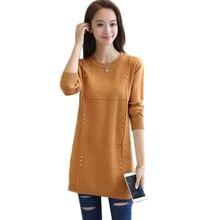 Осенне-зимний женский свитер, Однотонный пуловер, вязаный свитер с круглым вырезом и длинными рукавами, свитер средней длины, женская одежда AA213