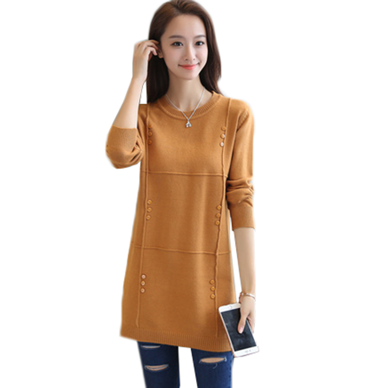 Autumn Winter Women Sweater New Solid Pullover Knitwear Sweater O-neck Long-sleeved Medium-length Sweater Female Clothes AA213