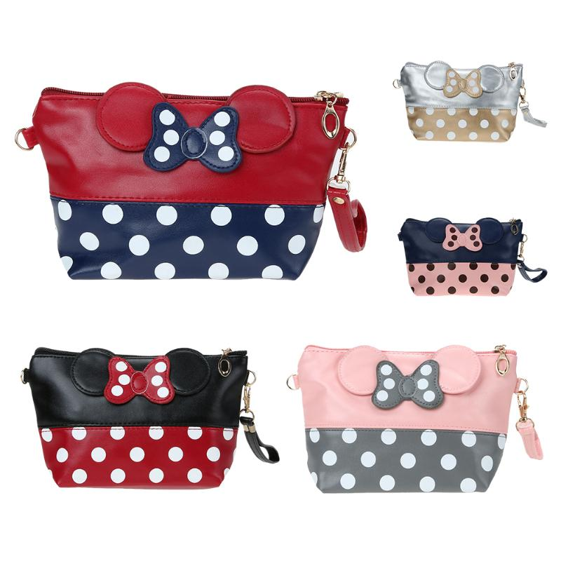 Travel Cosmetic Bag Cartoon Bow Makeup Case Women Hand Holding Handbag Organizer Storage Pouch Toiletry Zipper Wash Bags