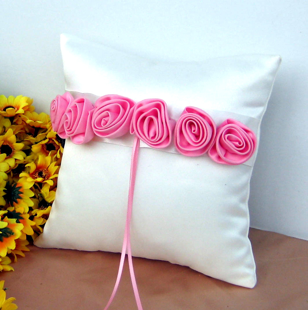 4Pcs/set Red/pink Rose Decor Wedding Satin Ring Pillow &Flower ...