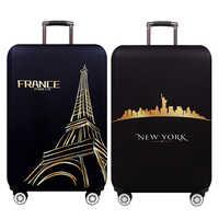 Nowy jork paryż zagęścić bagażu ochronna pokrywa 18-32 cal wózek bagażu podróży torba obejmuje elastyczne ochrony walizka walizka 271