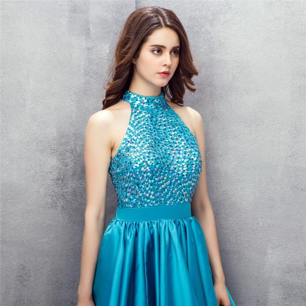 BRLMALL Stunning High Neck Short Blue Homecoming Dress 2017 ...