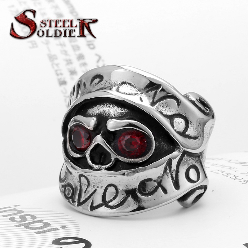steel soldier New Design Stainless Steel Stars War Soldier Ring For Men With Red CZ Stone Unique Movie Jewellry Ring