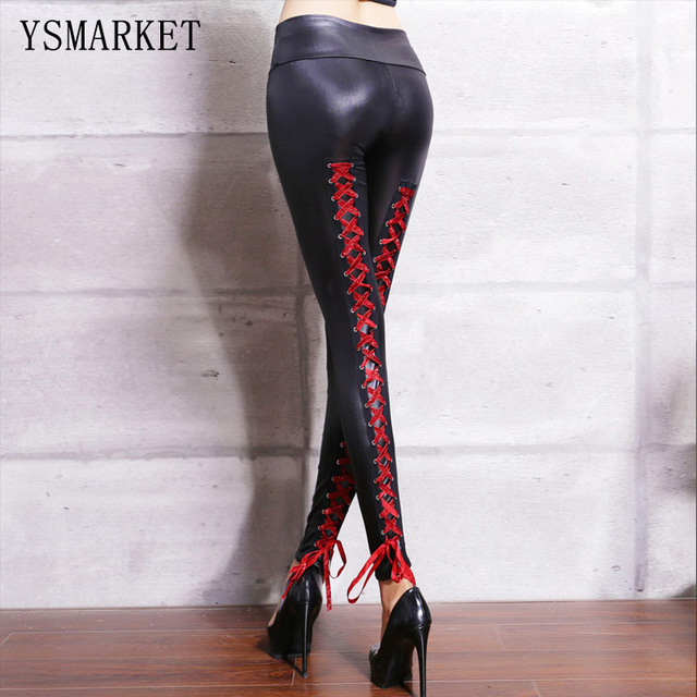 37ef1fe7210e8 Lace Up Back Faux Leather Stretch Leggings Red/Black/Gold/Silver Women  Gothic