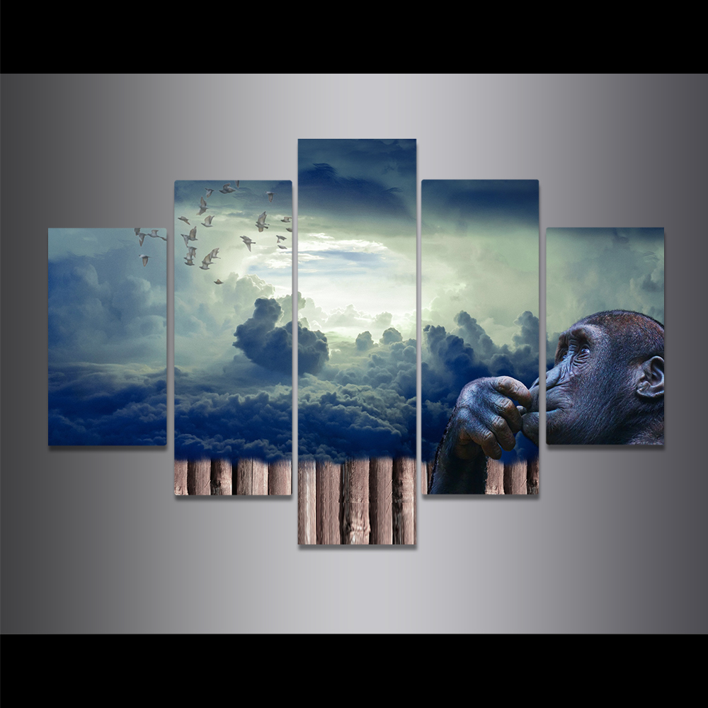 Unframed Canvas Painting King Kong Thinking Cloud Sea Dayan Picture Prints Wall Picture For Living Room Wall Art Decoration