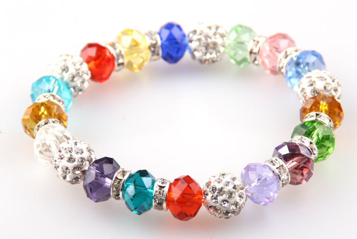 Free Shipping 10mm Multicolor Crystal Glass Beads And White Pave Ball Bracelet With Crystals Spacers Roundles For Holiday Gift Ideal Gift For All Occasions