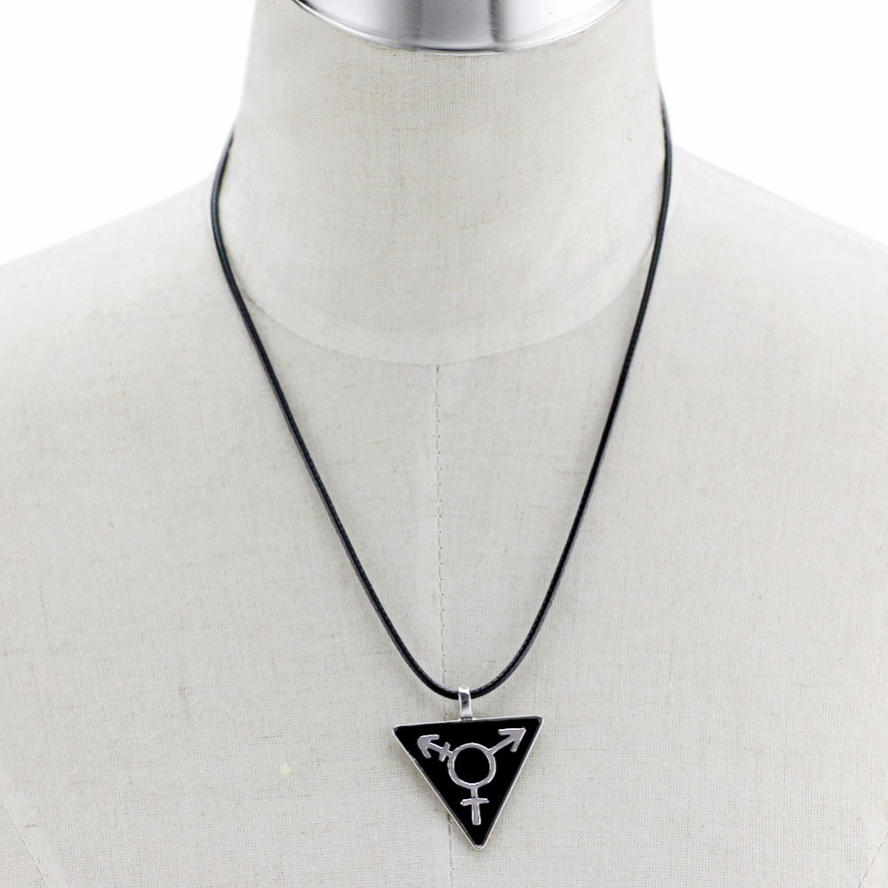 Dark black transgender necklace male female symbol triangle gay dark black transgender necklace male female symbol triangle gay pendant rainbow lgbt necklace homosexual jewelry cord chokers in pendant necklaces from buycottarizona