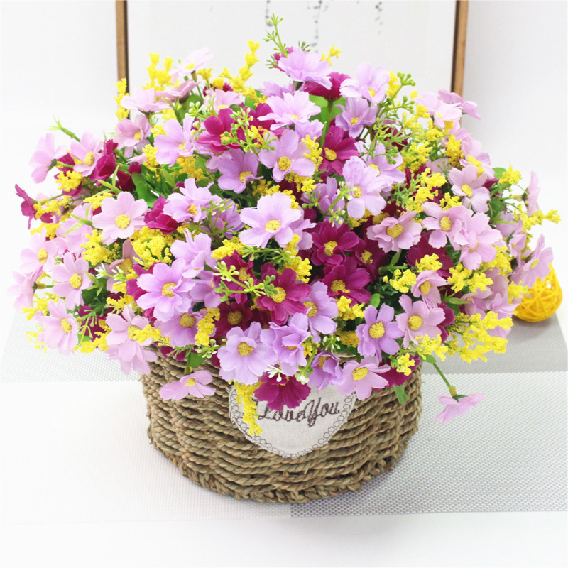 Cute Silk Daisy Artificial Flower With One Bouquet 7 Branch 28 Heads For Wedding Decoration 17