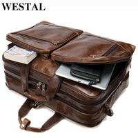 WESTAL men's travel bag leather duffle/weekend bag men's leather overnight/luggage bag leather large capacity travel duffel bags