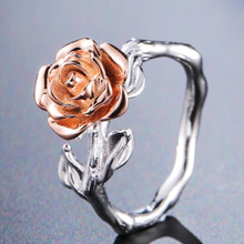 2019 New Hot Sale Rose Garden Flower Leaves Doublc Colors Finger Rings for Women Valentines Day Gift Jewelry Accessories
