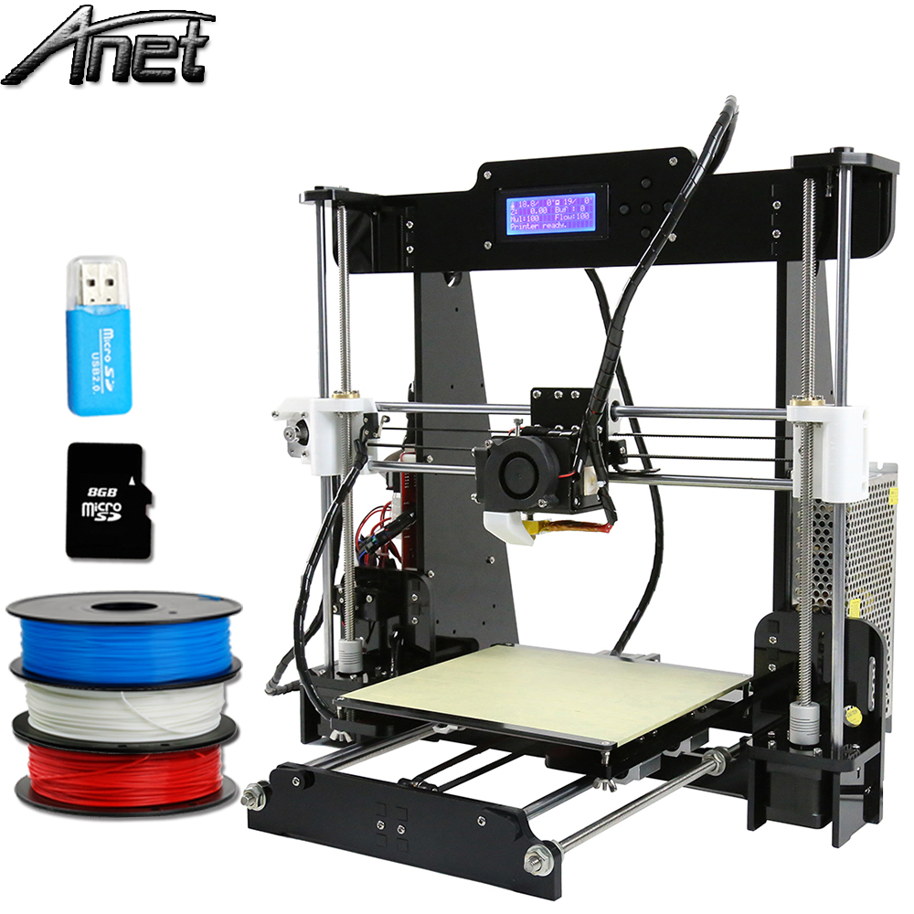 Updated Anet A8 3d-printer diy Large Printing Size Precision Reprap Prusa i3 DIY 3D Printer kit with Filament Card Video +Tools