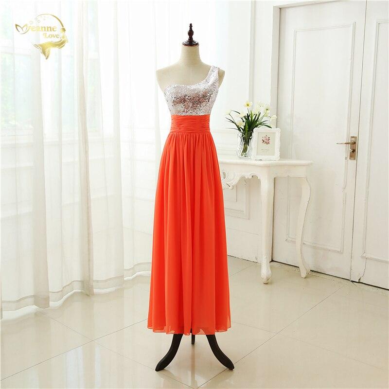 Wholesale New Vestido De Festa Longo   Bridesmaid     Dress   2019 Simple One Shoulder Sequins Chiffon Crystals   Bridesmaid     Dresses   BR-33