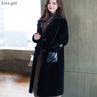 Newest Long Fake Lamb Fur Jacket Women Winter Faux Wool Jackets Woman Warm Artifical Lamb Fur
