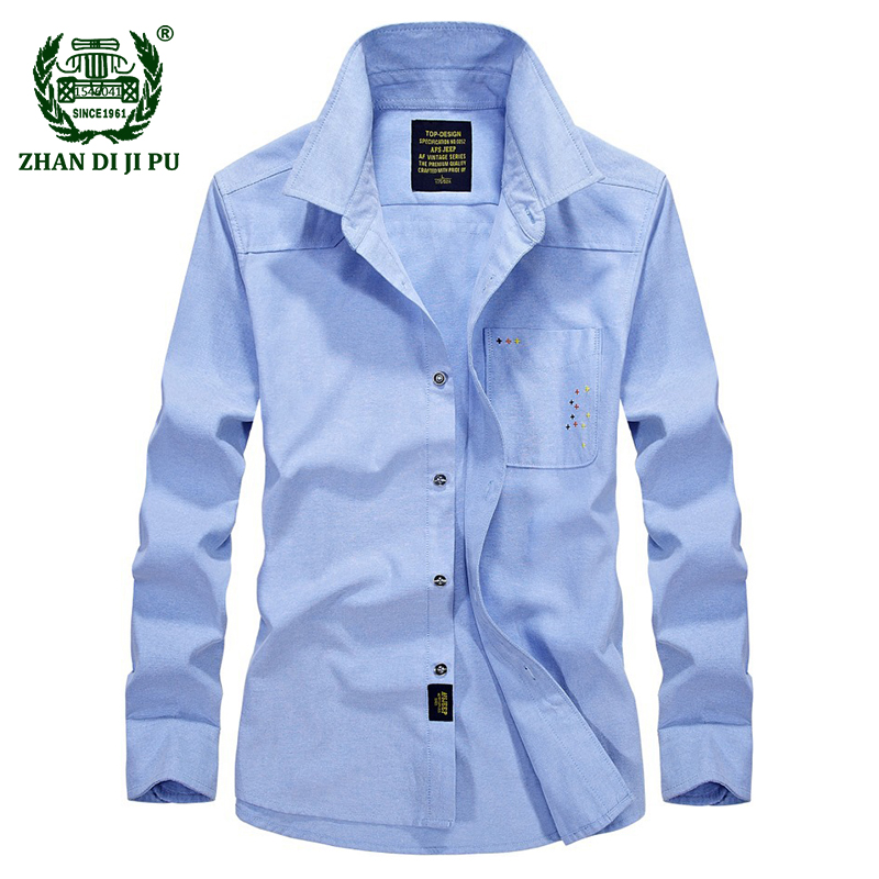 2018 Europe mens autumn casual brand blue shirt business man spring cotton gray long sleeve shirts male afs jeep clothes S-4XL