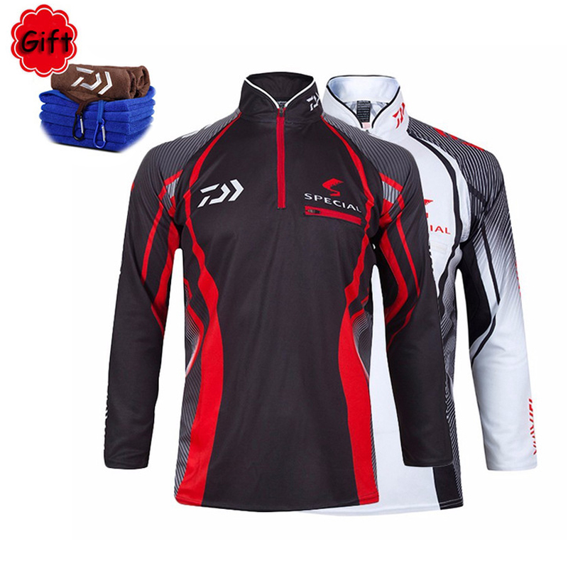 Fishing Clothing Men Long Sleeve Fishing Coat Running Riding Hiking Cycling Top Jersey Fly Fishing Clothes with Free Towel