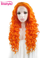 orange cosplay wigs for women drag queen Imstyle curly Synthetic lace front wig 26 inches
