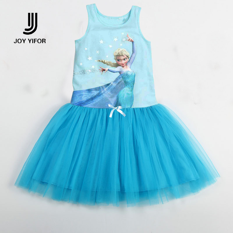 Elsa Girls Dresses Fashion Casual Summer Lace Character Tutu Dress Kids Girl Party Clothes for 2-6Y Children Vetement Fille цена и фото