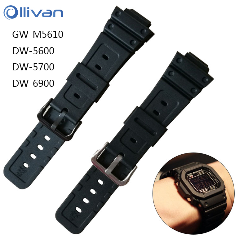 Ollivan Silicone Rubber Watch Band Strap For G Shock GW-M5610 DW-5600/5700/6900 Replacement Black Watchbands Smart Accessories